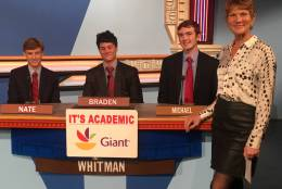 "On ""It's Academic,"" Whitman High School competes againts Magruder and Mount Vernon high schools. The show airs Dec. 17, 2016. (Courtesy Facebook/It's Academic)"