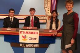 "On ""It's Academic,"" W.T. Woodson High School competes against Washington-Lee High School and St. Stephen's and St. Agnes School. The show airs Dec. 10, 2016. (Courtesy Facebook/It's Academic)"