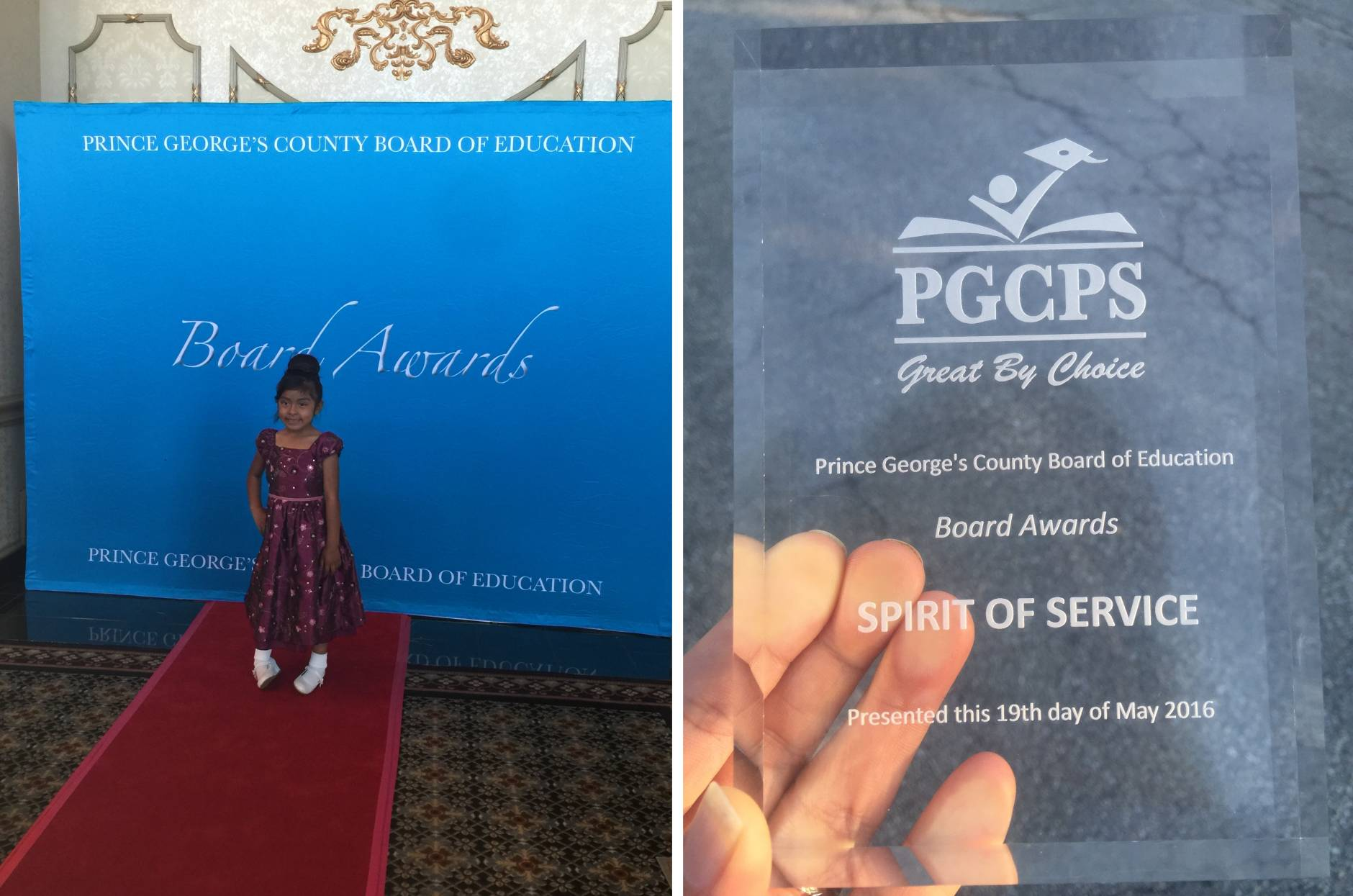 Yvonne Reyes, a first grade student at Beacon Heights Elementary School in Prince George's County,  was nominated by her Kindergarten teacher for the Spirit of Service Award at the School District's annual Board Awards. (Courtesy Daniela Bravo)