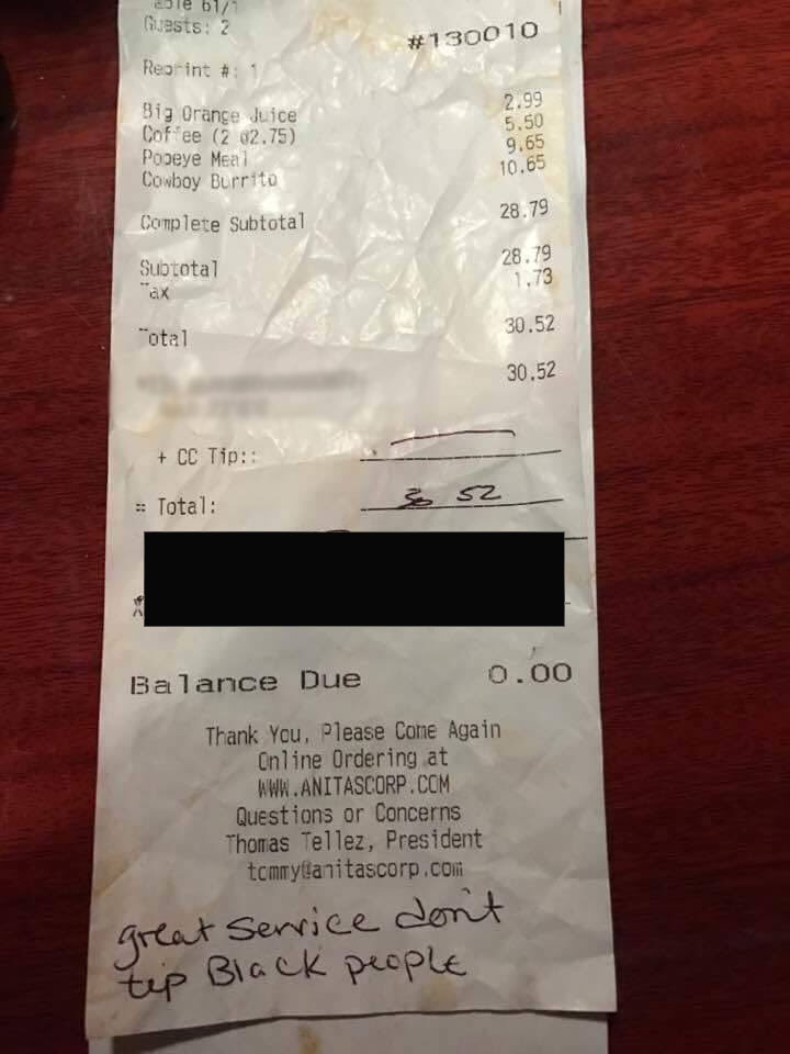 The Loudoun County NAACP branch first posted the image of the receipt. WTOP has blurred out the credit card number and the customer's signature. (Loudoun County NAACP/WTOP)