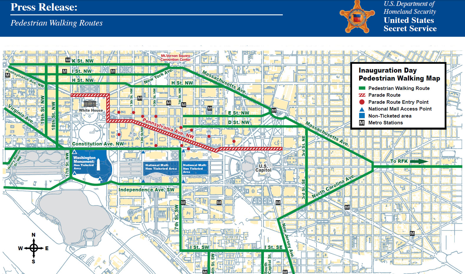 Inauguration Day  Survival Guide Street Closures Metro - Us map road conditions