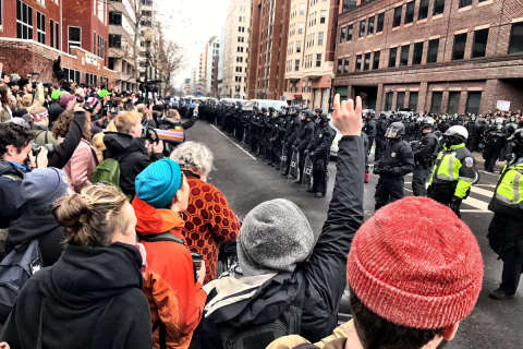 Protests parallel inauguration, 217 arrested for rioting