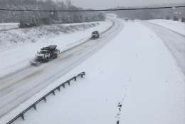 Snow plows tackle Route 27 and 460 Saturday in Appomattox County, Va. (Courtesy Virginia State Police)