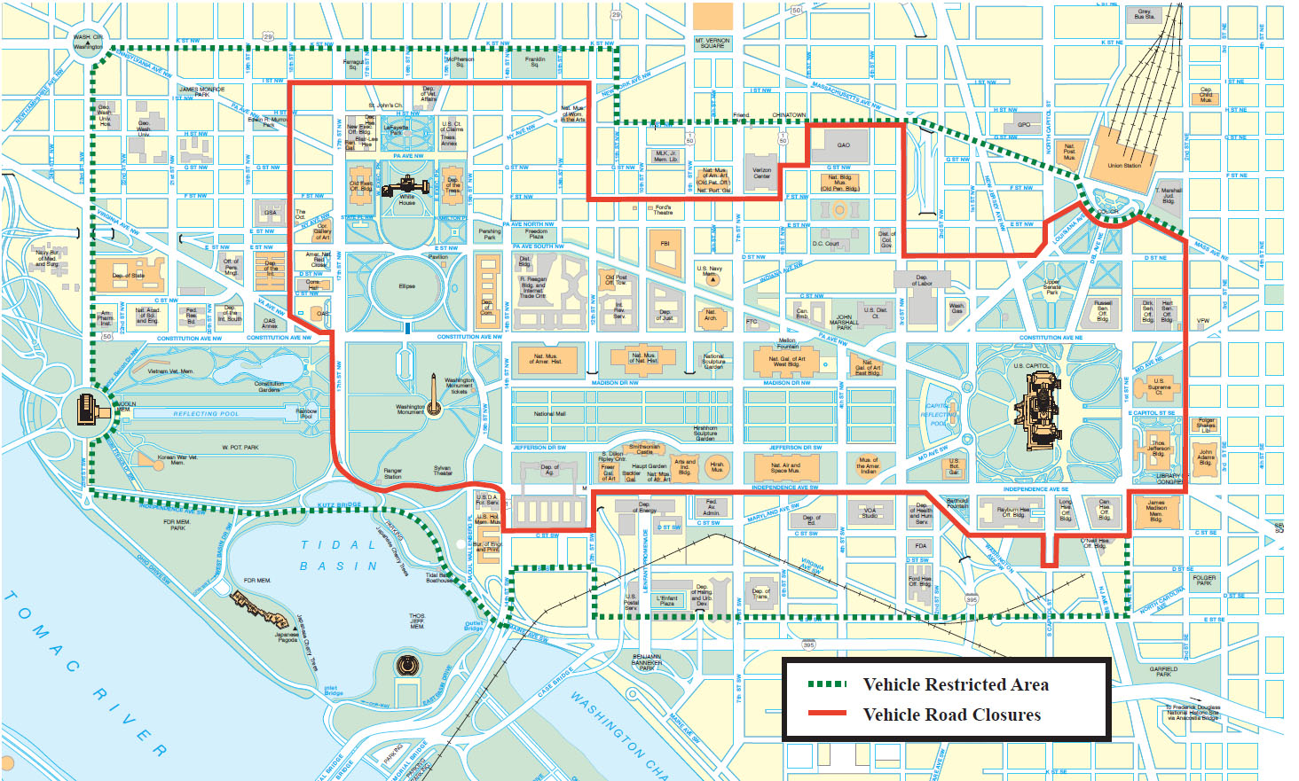 A map released by the Secret Service detailing streets that will be closed or restricted to vehicles during the 2017 inauguration. (U.S. Secret Service)