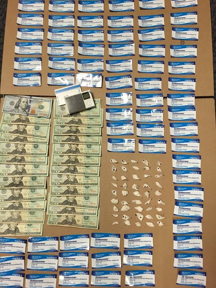 Anne Arundel County Police seized 45 bags of heroin (a total of more than 15 grams) and 71 strips of 8mg Suboxone in Glen Burnie in January 2016. About $560 in cash was also recovered. The drugs have a street value of about $3300. Three suspects were charged with multiple counts of possession with the intent to distribute. (Photo courtesy Anne Arundel County police)