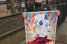 Another march-goer proudly displays a sign featuring Hillary Clinton's face before the Women's March on Washington Saturday, Jan. 21, 2017. (Courtesy Valerie Echeveste)