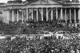 President Theodore Roosevelt is taking the oath of office on the east portico of the U.S. Capitol during his inauguration ceremony, March 4, 1905, in Washington. (AP Photo )