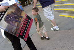 Members of group P.E.T.A. protest outside the Hartford Civic Center on the opening day of Ringling Bros. and Barnum & Bailey Circus, Wednesday, May 9, 2007, in Hartford, Conn. (AP Photo/Jessica Hill)