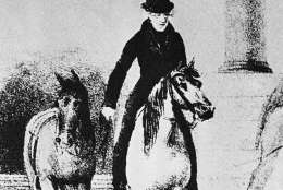 Andrew Jackson seventh president of the United States, in an 1829 depiction takes an extra horse with him as he starts off for his inauguration. (AP Photo)