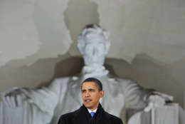 President-elect Barack Obama speaks at the Lincoln Memorial during an inaugural concert in Washington , Sunday, Jan. 18, 2009. (AP Photo/Charles Dharapak)