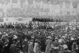 President William Howard Taft  sits in a horse draw carriage beside his wife Helen after Inaugural  ceremonies at the Capitol, in center of photo.  The inauguration took place in the Senate chamber because of a blizzard on March 4, 1909.   For the first time in the country's history, the president's wife  accompanied her husband on the return ride in the procession from the Capitol to the White House following his Inauguration.    (AP Photo/Library of Congress)