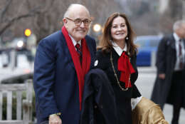Rudy Giuliani and his wife Judith, arrives for a church service at St. John's Episcopal Church across from the White House in Washington, Friday, Jan. 20, 2017, on Donald Trump's inauguration day. (AP Photo/Alex Brandon)