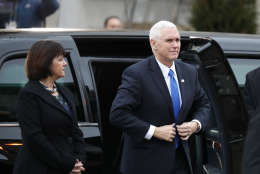 Vice President-elect Mike Pence and his wife Karen, arrives for a church service at St. John's Episcopal Church across from the White House in Washington, Friday, Jan. 20, 2017, on Donald Trump's inauguration day. (AP Photo/Alex Brandon)