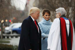 Rev. Luis Leon greets President-elect Donald Trump and his wife Melania as they arrive for a church service at St. John's Episcopal Church across from the White House in Washington, Friday, Jan. 20, 2017, on Donald Trump's inauguration day. (AP Photo/Alex Brandon)