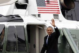 Former President Barack Obama waves as he departs the U.S. Capitol, Friday, Jan. 20, 2017. (AP Photo/Alex Brandon)