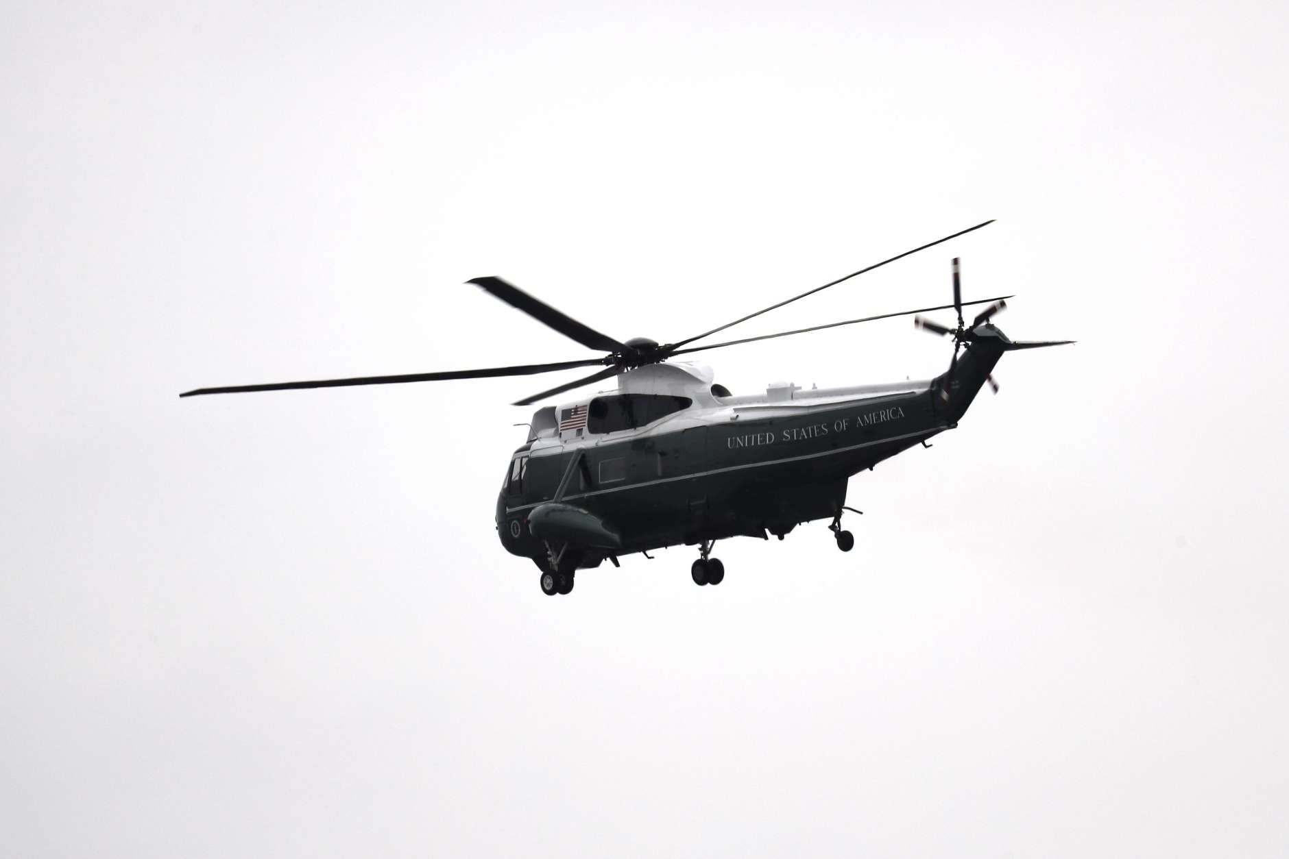 A Marine helicopter carries former president Barack Obama and Michelle Obama from the Capitol Hill in Washington, Friday, Jan. 20, 2017, en route to Andrews Air Force Base, Md. following the presidential inauguration of Donald Trump. (Rob Carr/Pool Photo via AP)