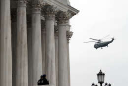 The Marine helicopter with former President Barack Obama and Michelle Obama aboard departs from the U.S. Capitol, Friday, Jan. 20, 2017. (AP Photo/Alex Brandon)