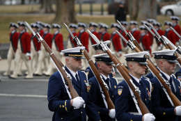 Military units march in the inaugural parade from the U.S. Capitol, Friday, Jan. 20, 2017, in Washington. (AP Photo/Alex Brandon)