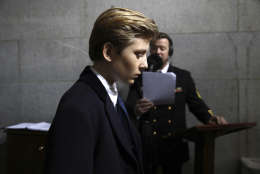 Barron Trump arrives at the west front of the Capitol in Washington, Friday, Jan. 20, 2017. (Win McNamee/Pool Photo via AP)