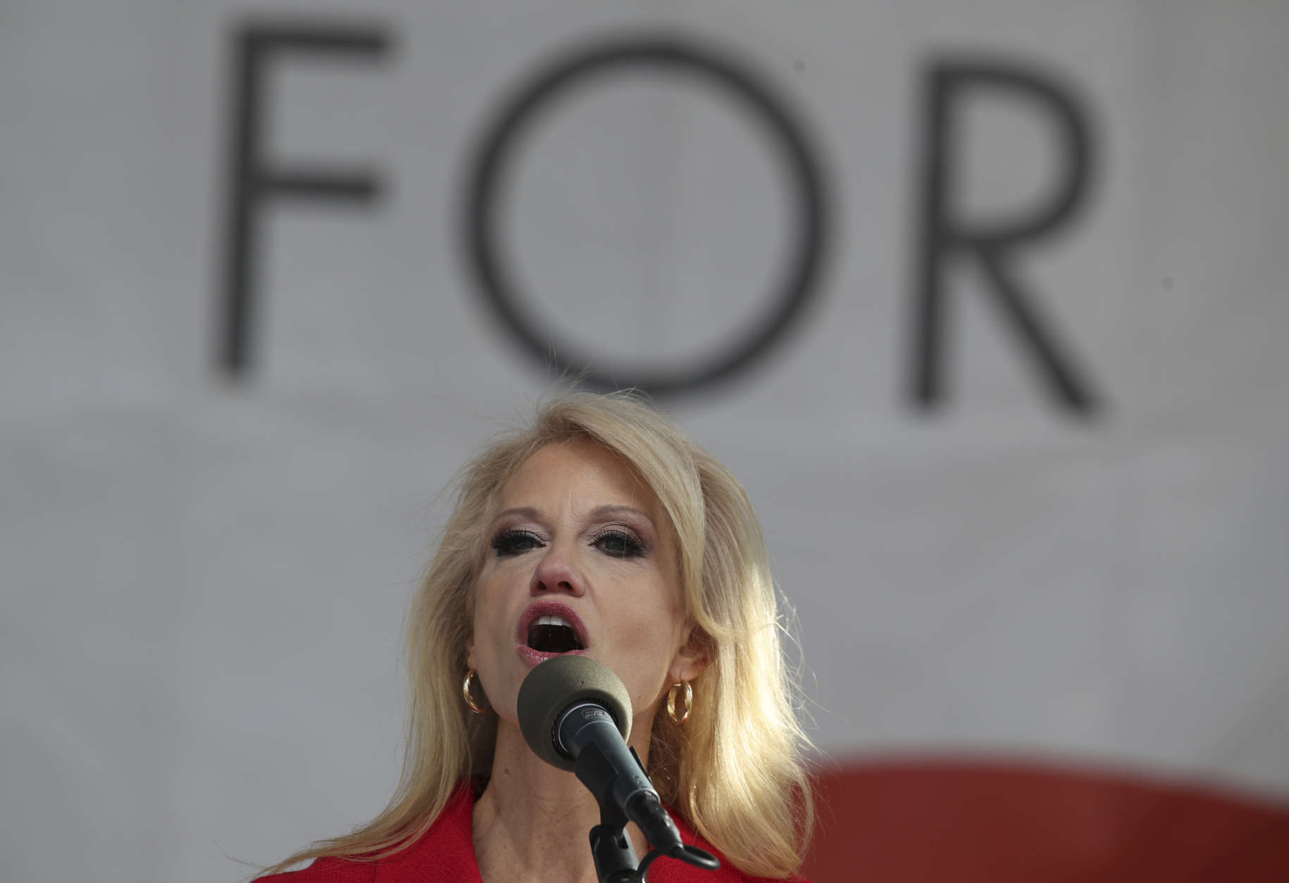 Counselor to the President Kellyanne Conway speaks at the March for Life on the National Mall in Washington, Friday, Jan. 27, 2017. (AP Photo/Manuel Balce Ceneta)