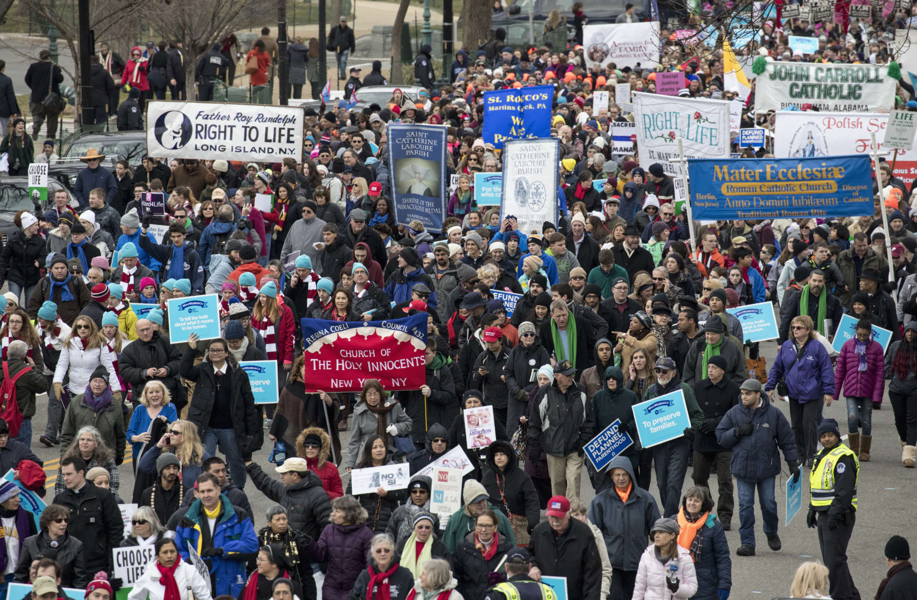 Anti-abortion demonstrators arrive on Capitol Hill in Washington, Friday, Jan. 27, 2017, during the March for Life. The march, held each year in the Washington marks the anniversary of the 1973 Supreme Court decision legalizing abortion. (AP Photo/J. Scott Applewhite)