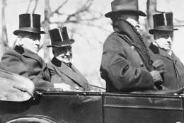 The retiring 28th President Woodrow Wilson, rides with his successor, Warren Gamaliel Harding, to the latter's inauguration, March 4, 1921. Because of his weakened condition, Mr. Wilson was unable to attend the inauguration of his successor. (AP Photo)