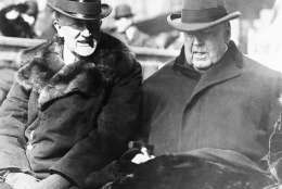 Chief Justice Edward D. White, right, of the Supreme Court and House Speaker F.A. Gillette at the inauguration of Warren G. Harding as president of the United States on March 4, 1921. (AP Photo)