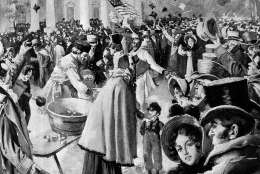 This artist's rendition shows the crush of people after President Andrew Jackson's inaugural ceremony, held on the East Portico of the Capitol building for the first time, in Washington, D.C., on March 4, 1829.  Following the inaugural proceedings, more than 20,000 well-wishers came to the White House to meet President Jackson.  (AP Photo)