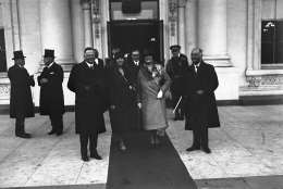 President Herbert Hoover, first lady Lou Henry Hoover, Dolly Curtis Gann, sister of Vice President Charles Curtis, and V.P. Curtis, are shown on Hoover's inauguration day in Washington, March 4, 1929.  (AP Photo)