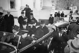 President Herbert Hoover, left, and President-elect Franklin D. Roosevelt are shown as they left the White House for Roosevelt's inauguration, March 4, 1933.  (AP Photo)