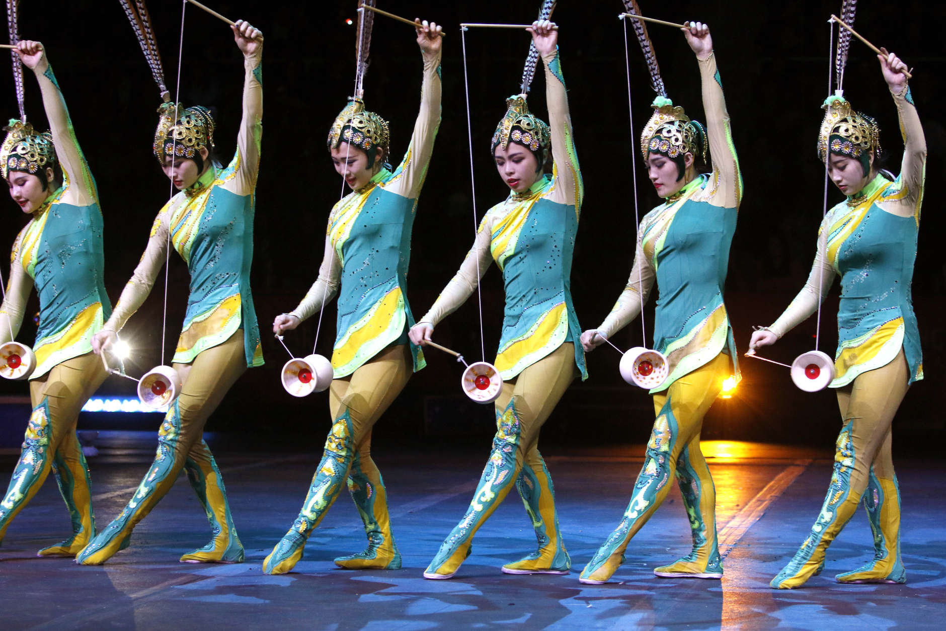 Members of the China National Acrobatic Troupe perform Sunday, May 1, 2016, in Providence, R.I., during the show where Asian elephants made their final performance in the Ringling Bros. and Barnum & Bailey Circus.  (AP Photo/Bill Sikes)