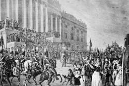 This is an artist's impression of President William Henry Harrison's inauguration in Washington, D.C., on March 4, 1841.  Harrison declined the offer of a closed carriage and rode on horseback to the Capitol, braving cold temperatures and a northeast wind. After speaking for more than an hour, he returned to the White House on horseback, catching a chill that eventually turned to pneumonia. He died a month later.  (AP Photo)