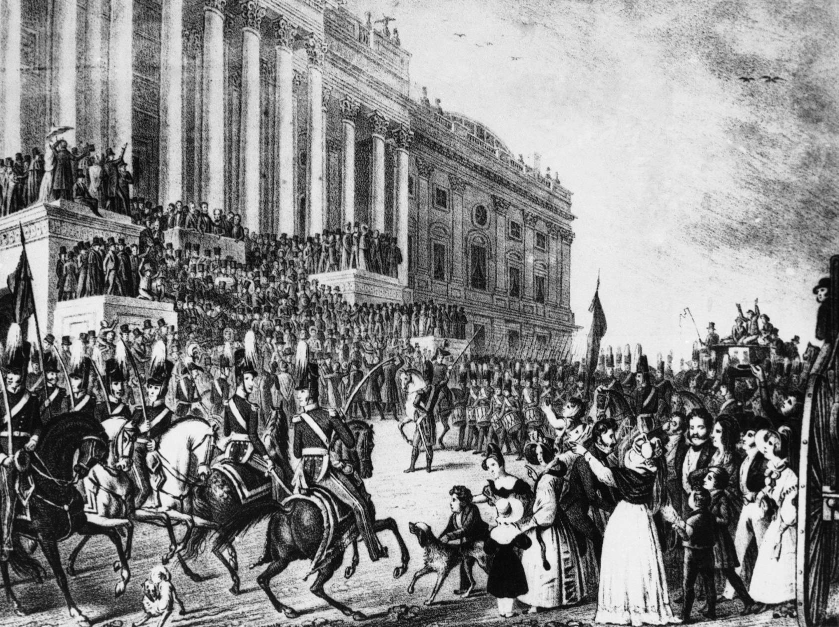 Depicted in this illustration, the inauguration of William Henry Harrison in Washington on March 4, 1841. Harrison was 68-years-old when he took office. Hatless and without an overcoat he rode horseback from the White House to the Capitol on a wintry day and stood for an hour in a raw wind while delivering his inaugural address. A month later he died of pneumonia. The artist's conception of the inauguration included some light finery which hardly matched the weather of the day. (AP Photo)