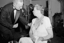 Harry S. Truman, Vice President-elect, left, talks with Eleanor Roosevelt at the inauguration eve dinner in Washington, January 19, 1945.  (AP Photo/stf)