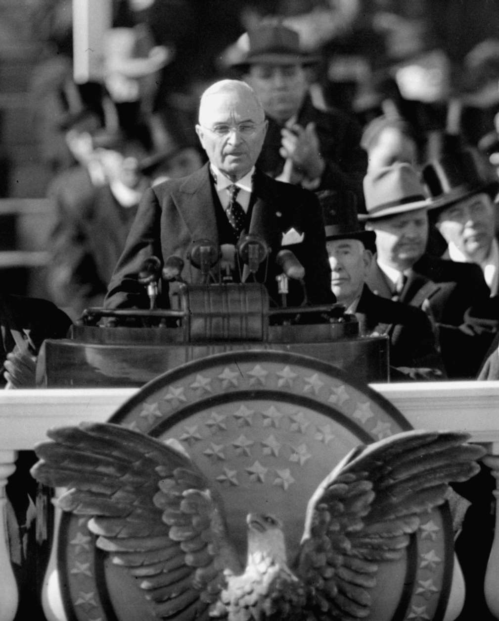 President Harry S. Truman delivers inaugural address from Capitol portico, January 20, 1949, after taking oath of office for his first full term as chief executive. (AP Photo/Becker)