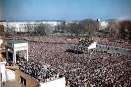 People gather in front of the Capitol Building for Harry S. Truman's inauguration ceremony as he takes the oath of office in Washington, D.C., on Jan. 20, 1949. (AP Photo)