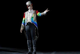 Ringmaster Johnathan Lee Iverson performs Sunday, May 1, 2016, in Providence, R.I., during the show where Asian elephants made their final performance in the Ringling Bros. and Barnum & Bailey Circus.  (AP Photo/Bill Sikes)