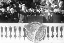 FILE - This Jan. 20, 1941 black-and-white file photo shows President Franklin Delano Roosevelt waving from the inaugural stand on Capitol Hill in Washington. Sixteen presidents before Barack Obama got a second chance at giving an inaugural address for the ages. Most didn't make much of it. Abraham Lincoln is the grand exception. (AP Photo, File)