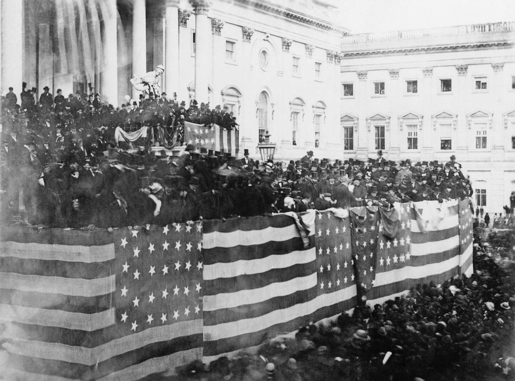 This is a general view of the grand stand during the inauguration of Rutherford B. Hayes, March 5, 1877 in Washington. (AP Photo)