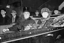 President Franklin D. Roosevelt and first lady Eleanor Roosevelt are seen up Pennsylvania Avenue during the inaugural parade in Washington, Jan. 4, 1937.  This will be Roosevelt's second term in office. (AP Photo)