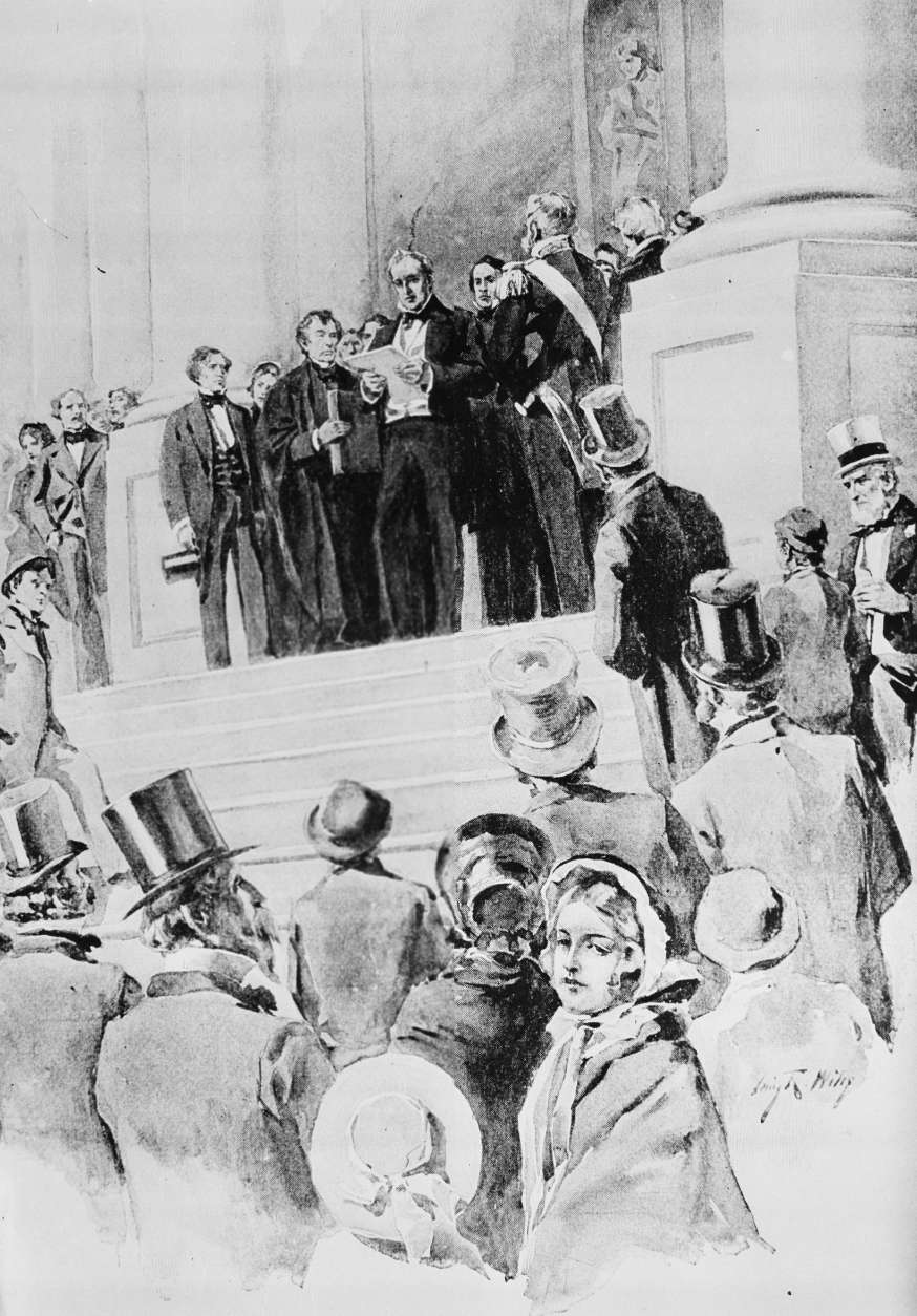 President James Buchanan delivers his address after being sworn in as the 15th president of the United States in front of the Capitol in Washington, D.C., March 4, 1857.  The oath was administered by Chief Justice Roger B. Taney.  (AP Photo)