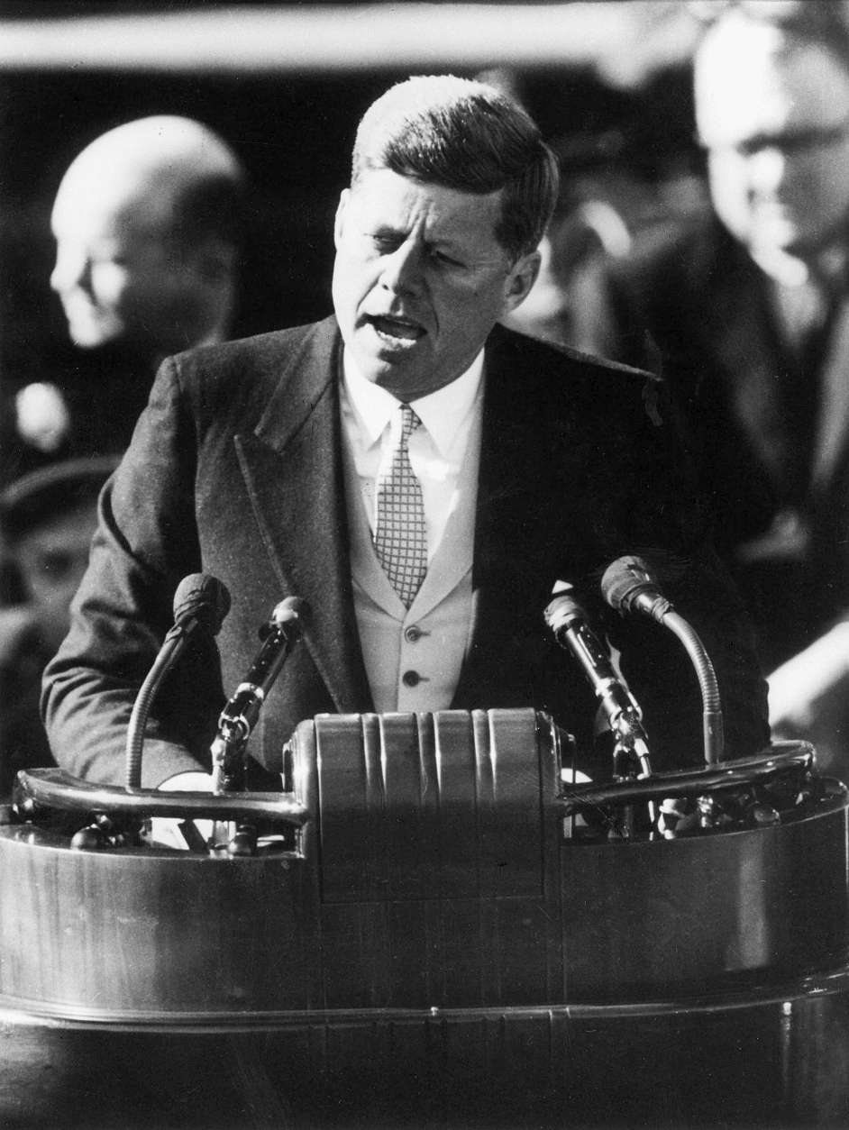 President John F. Kennedy delivers his inaugural address after taking the oath of office at the Capitol in Washington Jan. 20, 1961.  (AP Photo)
