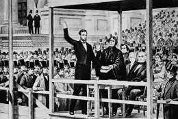 Abraham Lincoln takes the oath of office as the 16th president of the United States administered by Chief Justice Roger B. Taney in front of the U.S. Capitol in Washington, D.C., on March 4, 1861.   (AP Photo)