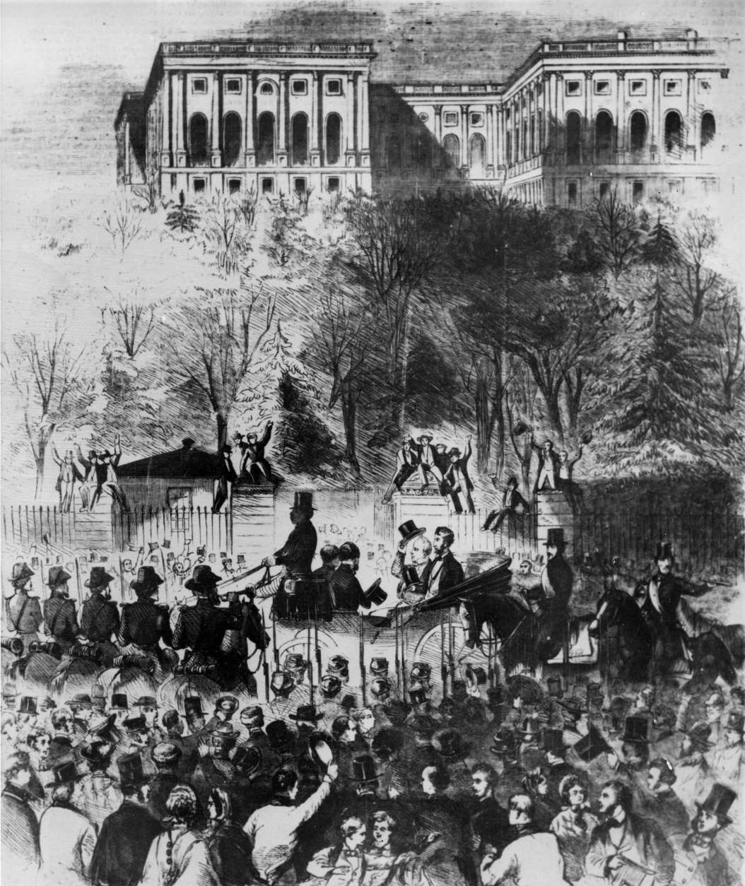 This drawing shows Abraham Lincoln's inaugural procession passing the gates of the Capitol grounds in Washington, D.C., on March 4, 1861.  Retiring President James Buchanan, donning his top hat, is shown seated at Lincoln's side in the open carriage. (AP Photo)