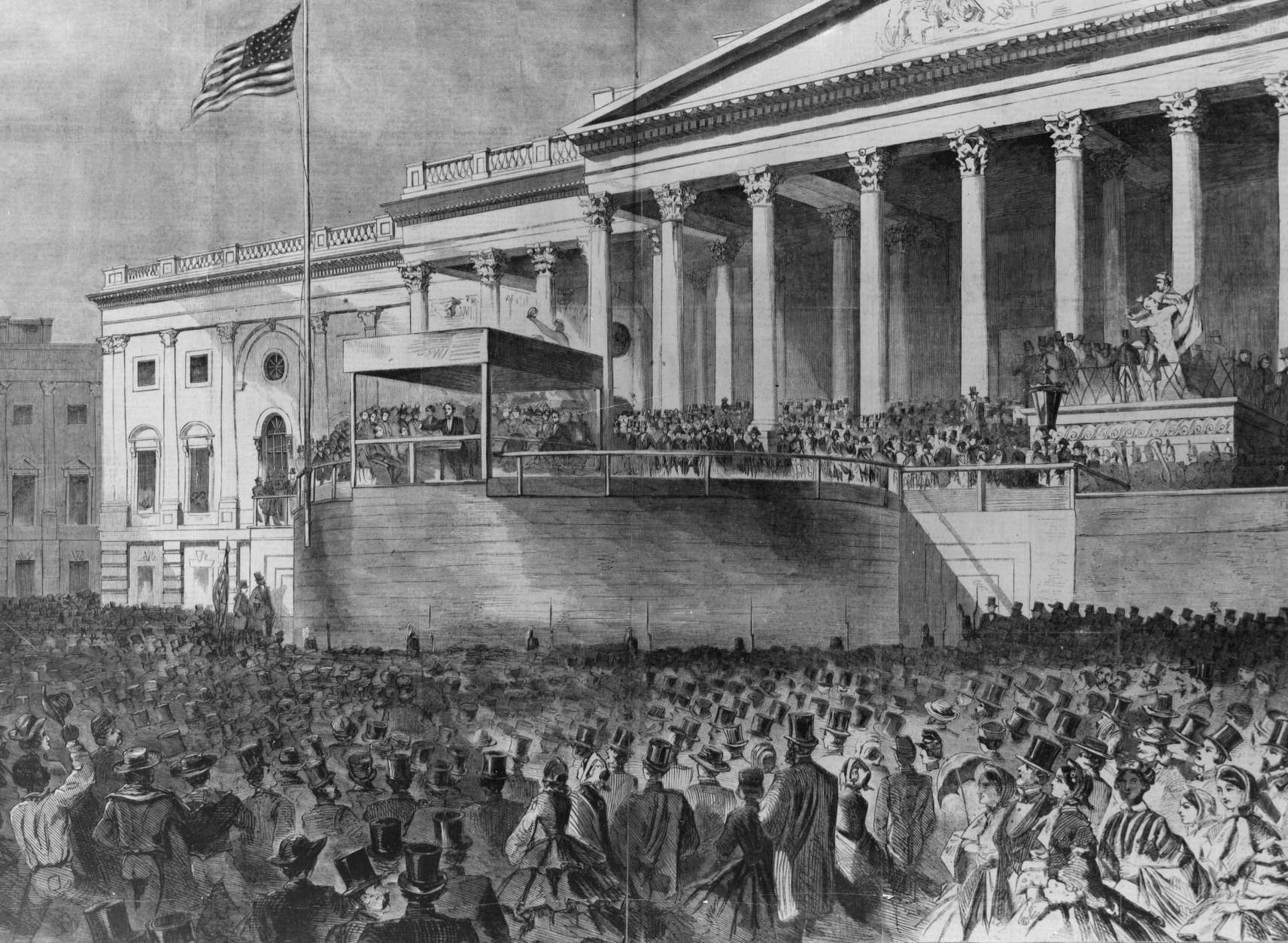 This photograph of a drawing shows President Abraham Lincoln deliver his address after being sworn in as the 16th president of the United States in front of the U.S. Capitol in Washington, D.C., on March 4, 1861.  (AP Photo)