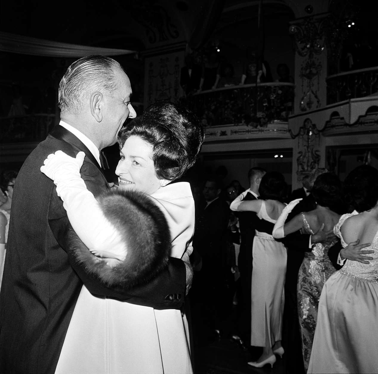 U.S. President Lyndon B. Johnson and the first lady, Lady Bird, dance at the Inaugural Ball at the Mayflower Hotel in Washington, D.C., Jan. 20, 1965.  It is one of five balls held as a windup to the Chief Executive's inauguration earlier today as the nation's 35th president.   (AP Photo)