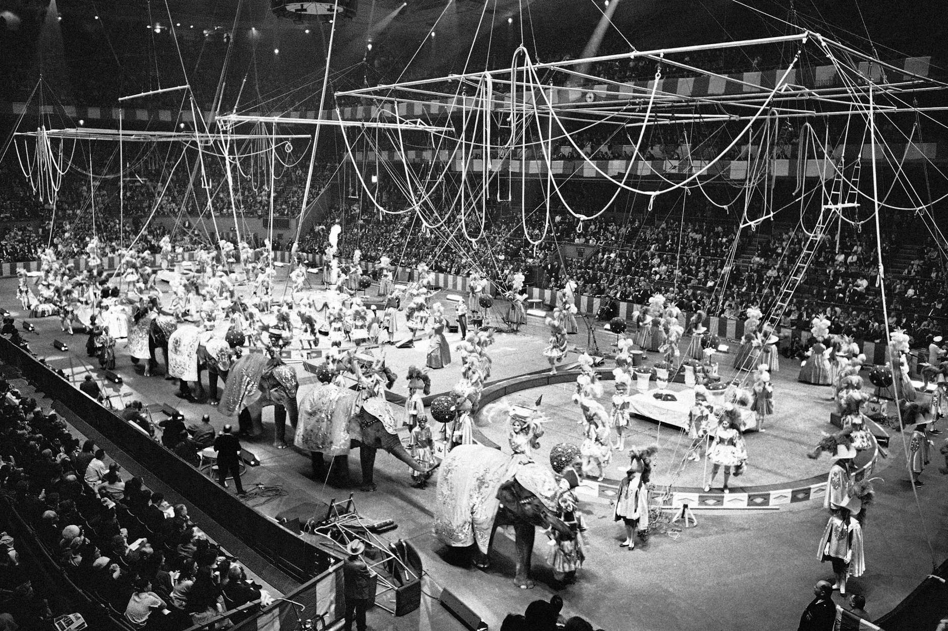 "The ""spectacular"" act, of the Ringling Bros. and Barnum and Bailey Circus is seen as the circus opens in Madison Square Garden in New York on April 5, 1966. (AP Photo/John Lent)"