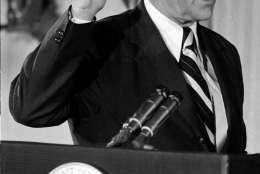 Gerald R. Ford takes the oath of office as the 38th President of the United States in the East Room of the White House in Washington, D.C., Friday, Aug. 4. 1974.  (AP Photo)