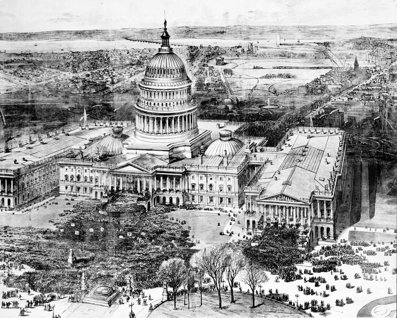The public inauguration of Rutherford B. Hayes takes place in front of the U.S. Capitol on the East Portico in Washington, D.C., on March 5, 1877.  The unfinished Washington Monument can be seen in far background.  The Smithsonian Mall is on the left and Pennsylvania Avenue runs off to upper right hand corner.  (AP Photo)