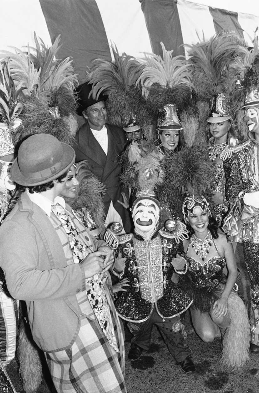 "Actor Charlton Heston is shown with Ringling Bros. and Barnum and Bailey Circus clown Prince Paul on Tuesday, July 19, 1978 during the City of Hope's Celebrity Circus opening in Inglewood, California. Heston played the ringmaster in the original motion picture ""The Greatest Show on Earth."" (AP Photo/Mclendon)"